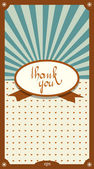 Retro vintage card design. Thank You concept. Vector illustration. — Vettoriale Stock