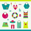 Summer beach set. Collection of bags, T shirts, sun lotion. Vector illustration. — Stock Vector #24843627