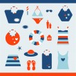 Summer beach set. Collection of bags, T shirts, sun lotion. Vector illustration. — Stock Vector #24843629