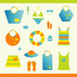 Summer beach set. Collection of bags, T shirts, sun lotion. Vector illustration. — Stock Vector