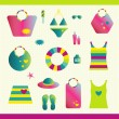 Summer beach set. Collection of bags, T shirts, sun lotion. Vector illustration. — Stock Vector #24843637