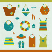 Summer beach set. Collection of bags, T shirts, sun lotion. Vector illustration. — Vettoriale Stock