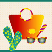 Summer background illustration. Beach collection with sunglasses. Vector. — Vector de stock