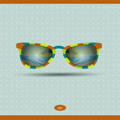 Retro sunglasses with tropical island reflection. Summer background illustration. Vector. — Stock Vector