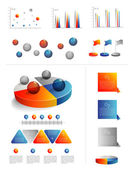 Presentation template for infographics with pie chart diagram. Web elements. — Stock Vector