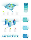 Infographics elements. 3D glass cube objects. — Stock Vector