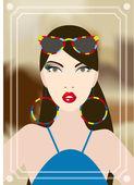 Junge frau in der disco, ein blick in den spiegel. vektor-illustration. — Stockvektor