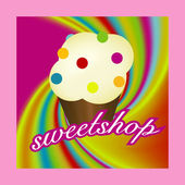 Sweetshop with muffin. — Stock Vector