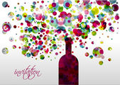 Wedding and invitation card. Champagne bottle with bubbles. Abstract flower background. — Stock Vector