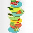 Health fruit and vegetable. Vitamins illustration. — Stock Vector #31550987
