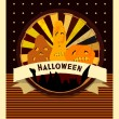 Halloween party invitation card. Vector vintage illustration. — Stock Vector