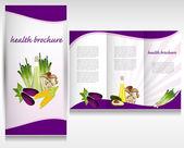 Health food brochure design. Bio vegetable and fruit. Brochure folder vector. — Stock Vector