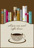 Book shelf illustration. Coffee leaflet. — Stock Vector