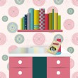 Children interior design. Book shelf illustration. — Stock Vector