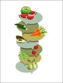 Health fruit and vegetable. Vitamins illustration. — Stock Vector