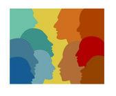 Profile speaking head. Vector illustration. — Stock Vector