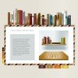 Example of web page. Bookstore page design. Book and shelf. Vector illustration. — Stock Vector