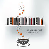 Web or print template of Coffee house with book shelf. Vector background illustration. — Stock Vector