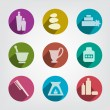 Set of wellness, spa and body care icons. Relax pictogram set. — Vettoriali Stock