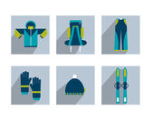 Set of modern sporting shadows icon. Collection of winter ski dress. — Stock Vector