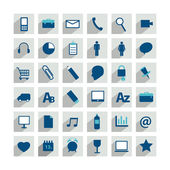 Set of minimalistic modern long shadows icon. Collection of communication symbols. — Stock Vector