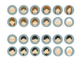 Men, woman aging. Generation growing up icon. Men, woman of all ages period. — Stock Vector