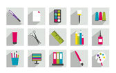 Set of work or school flat icon. — Stock Vector