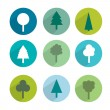 Set of green trees modern circle sign shadows icons. — Stock Vector