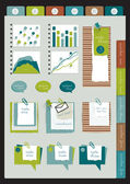 Set of infographic collection. Color web page or blog elements, folder, color paper stickers, cardboard, text messages, graphs and notices. — Vecteur