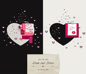 Wedding, Valentine or invitation card design. — Cтоковый вектор