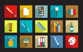 Set of work office or school icons. — Vecteur