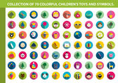 Collection of colorful children flat icon. 70 shapes of children toys, symbols, games and animals. — Stock Vector