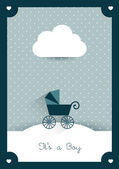 New born invitation vintage card template. Retro buggy concept. Vector illustration. — Stock Vector