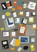 Praca układu strony sieci web pakietu office. kolorowy szablon graficzny. teczka, naklejki, wykres, karta, danych, czarny deska, zestaw pęcherzyki. tło wektor. — Wektor stockowy