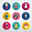 Collection of kids flat icon. Colorful toys pictograms. — Stock vektor