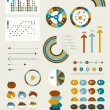Set of infographic elements. Collection of graphs, charts, speech bubbles, arrows, text fields. Circle template. Simply minimalistic flat design. — Stok Vektör #44200595