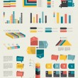 Set of infographic elements. Collection of graphs, charts, speech bubbles, arrows, text fields. Circle template. Simply minimalistic flat design. — Vector de stock