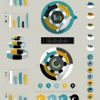 Flat infographic collection of charts, graphs, speech bubbles, schemes, diagrams. Trend color set. Circle, round design. — Stockvektor