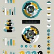 Flat infographic collection of charts, graphs, speech bubbles, schemes, diagrams. Trend color set. Circle, round design. — Stok Vektör