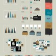 Flat infographic collection of charts, graphs, speech bubbles, schemes, diagrams. Trend color set. Rectangle design. — Stok Vektör