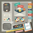 Web design vintage portfolio elements. Collection of color stickers, speech bubbles, text message, icons, hand drawn shapes. Info graphic components for print or web. — Stock Vector