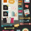 Work office web layout. Colorful graphic flat template. Folder, sticker, graph, tab, data, icons, shapes, ribbons, arrows, bubbles set. Vector background. — Stock Vector #44201767
