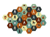 Collection of hexagonal flat icon. Various chairs, lamps and kitchen instruments. — Stock Vector