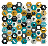 Collection of flat hexagonal media icons. Set of work office, media communication, mobile communication. — Stock Vector