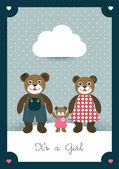 New born card. Cute illustration of bear family. Kids concept. — Vecteur