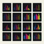 Colección de icono de ecualización plana. ondas sonoras, las formas de la música. — Vector de stock