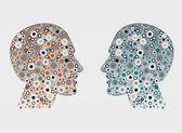 Uomini astratti testa di profilo. concetto del cervello umano. — Vettoriale Stock