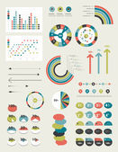 Set of infographic elements. Collection of graphs, charts, speech bubbles, arrows, text fields. Circle template. Simply minimalistic flat design. — Stockvektor
