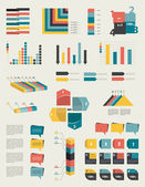 Set of infographic elements. Collection of graphs, charts, speech bubbles, arrows, text fields. Circle template. Simply minimalistic flat design. — Stock Vector
