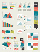 Flat infographic collection of charts, graphs, speech bubbles, schemes, diagrams. Trend color set. Rectangle design. — Stock Vector